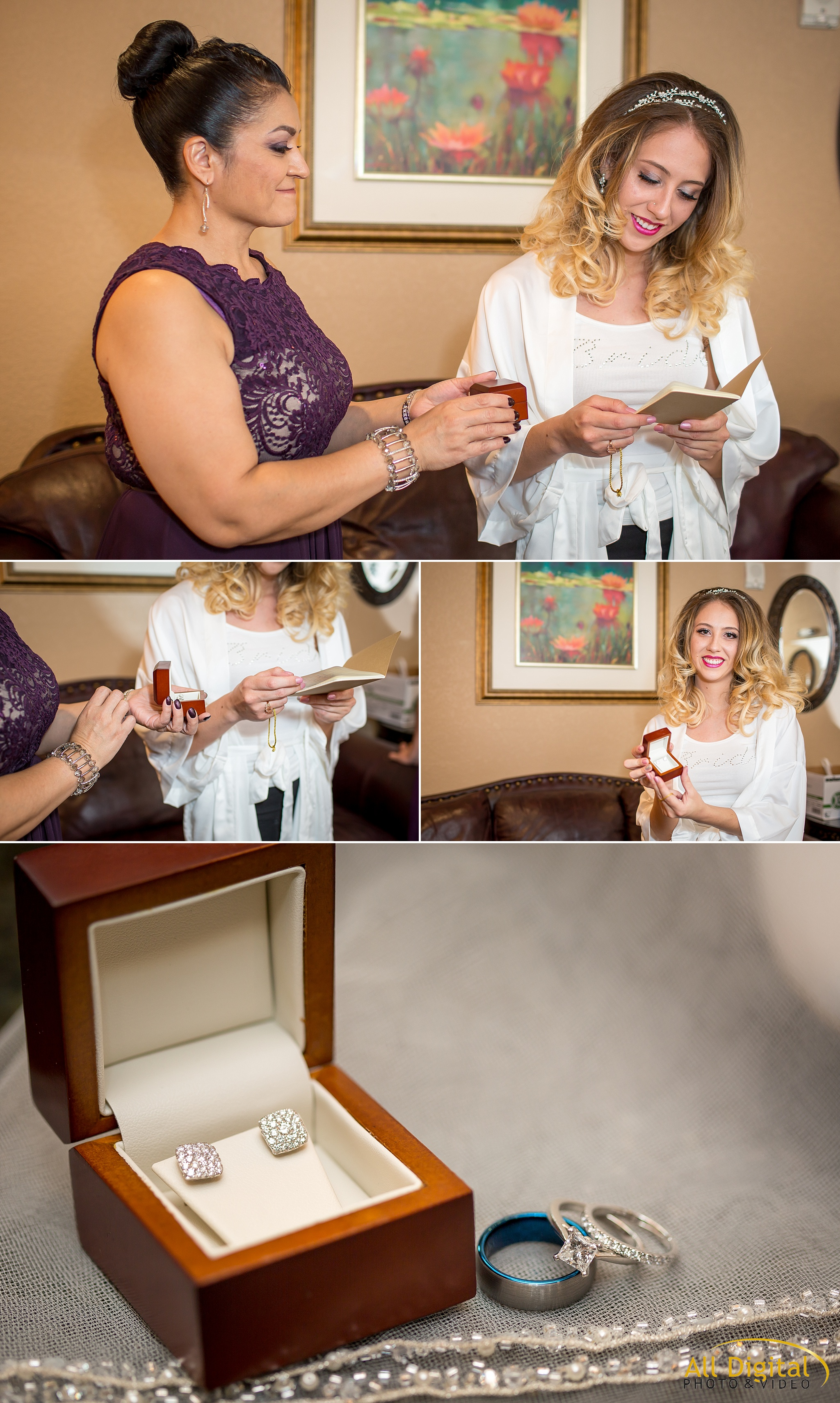 Bride receiving a gift and note from her groom before the ceremony.