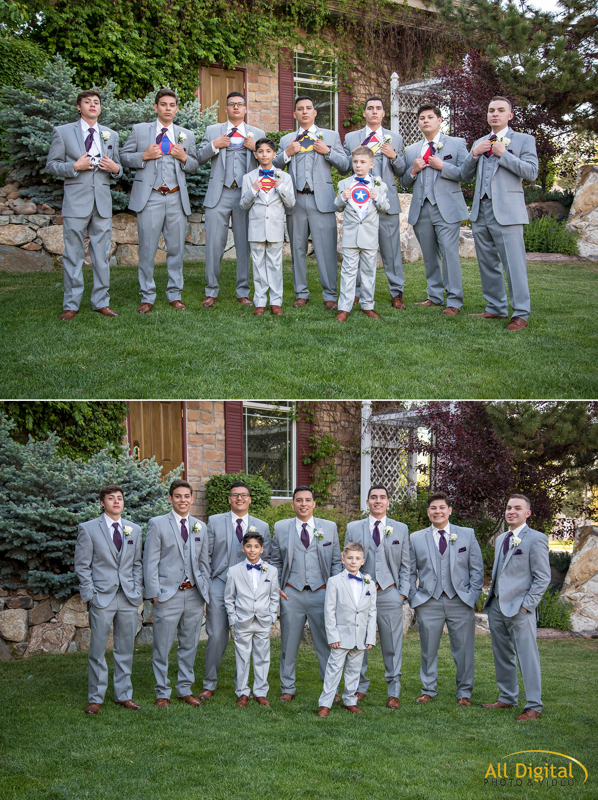 Groom, groomsmen, and ring bearer portraits at Stonebrook Manor.
