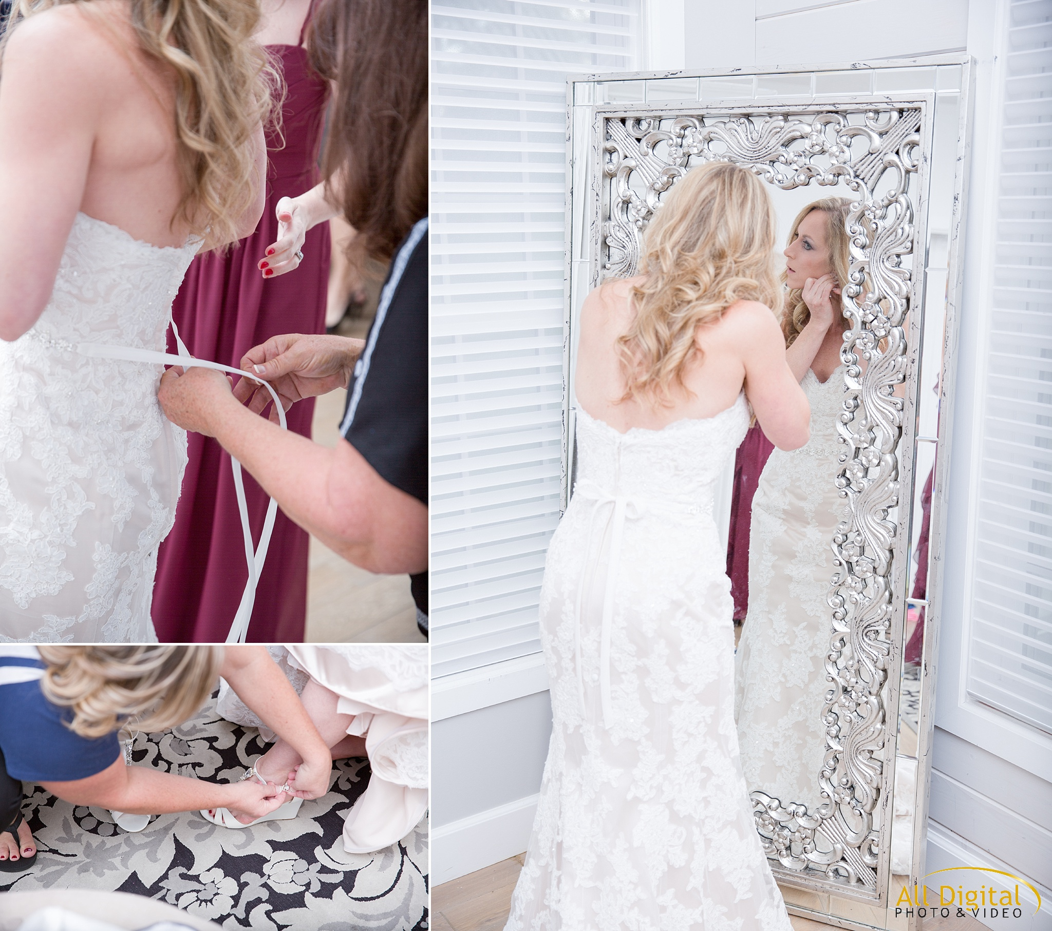 Tina getting ready in the Bridal Suite at Raccoon Creek.