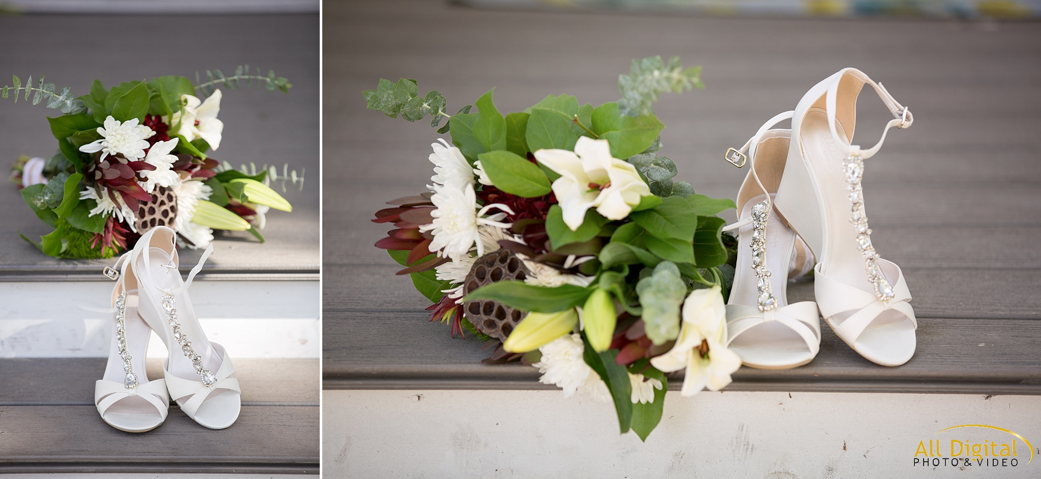 Bridal shoes & bouquet at Raccoon Creek