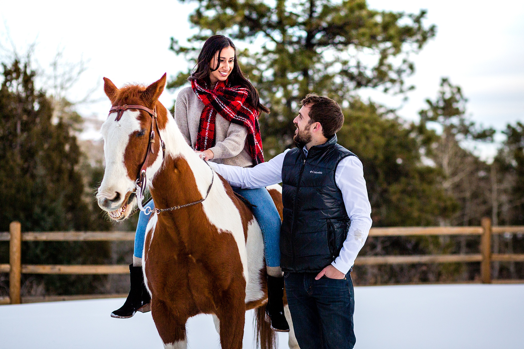 Morrison Private Ranch Engagement Session with Horses. Colorado Engagement Photography by All Digital Photo & Video. Morrison Engagement Photography, Horse Engagement Session, Ranch Engagement Session, Colorado Engagement Photos, Mountain Engagement Photos, Winter Engagement Photos, Snowy Engagement Photos, Mountain Engagement Photography, Denver Engagement Photography, Rocky Mountain Engagement